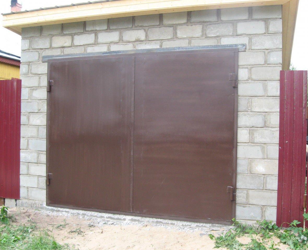 Ворота гаражные распашные своими руками фото